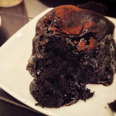 Moist chocolate cake underneath