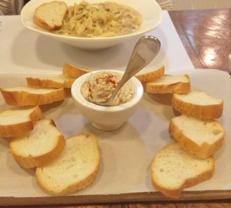 Tinapa Mousse with Toasted Flat Bread and Tartufo pasta