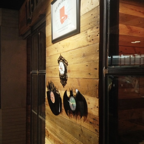More beautiful wood panels, with a clever use for vinyls as clocks