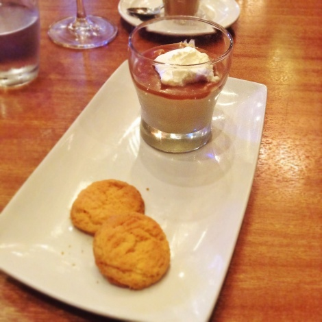 Butterscotch Budino with Salted Caramel and Diamond Sable Cookies