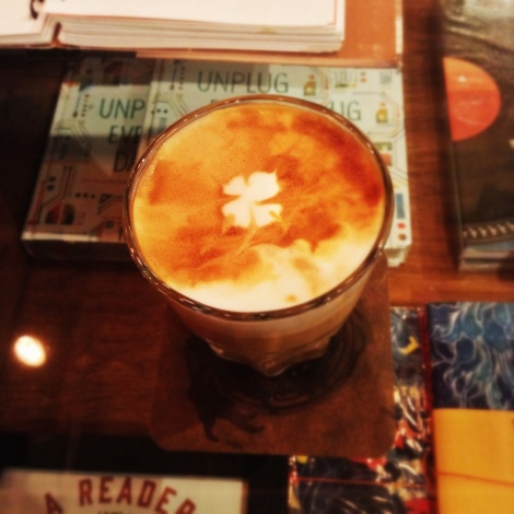 Latte with a clover