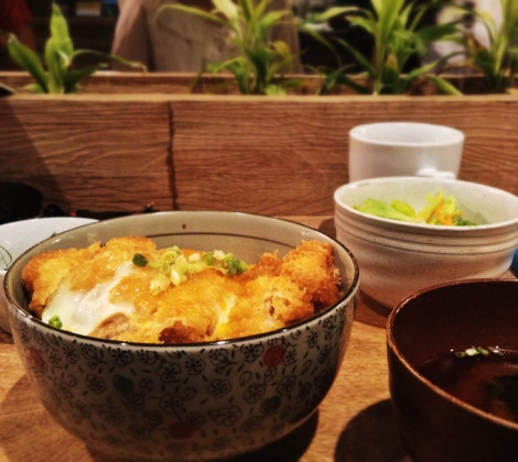 Katsudon! The plant box in the table. I told you this place is foodie friendly.