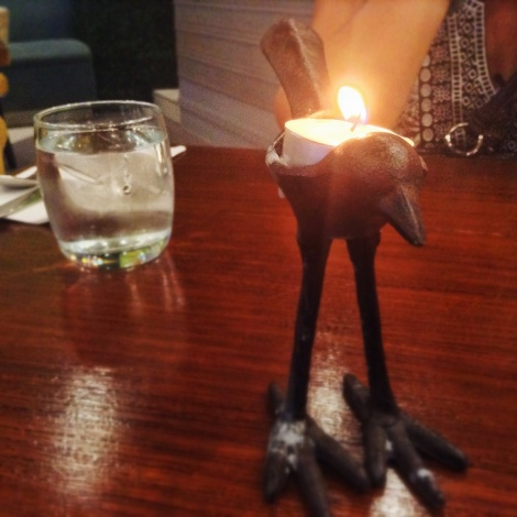 The Early Bird Breakfast Club has candle holders that look like, well, birds.