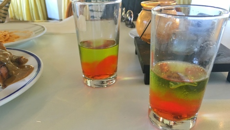 Pandan-Gulaman shooters for the complimentary drink